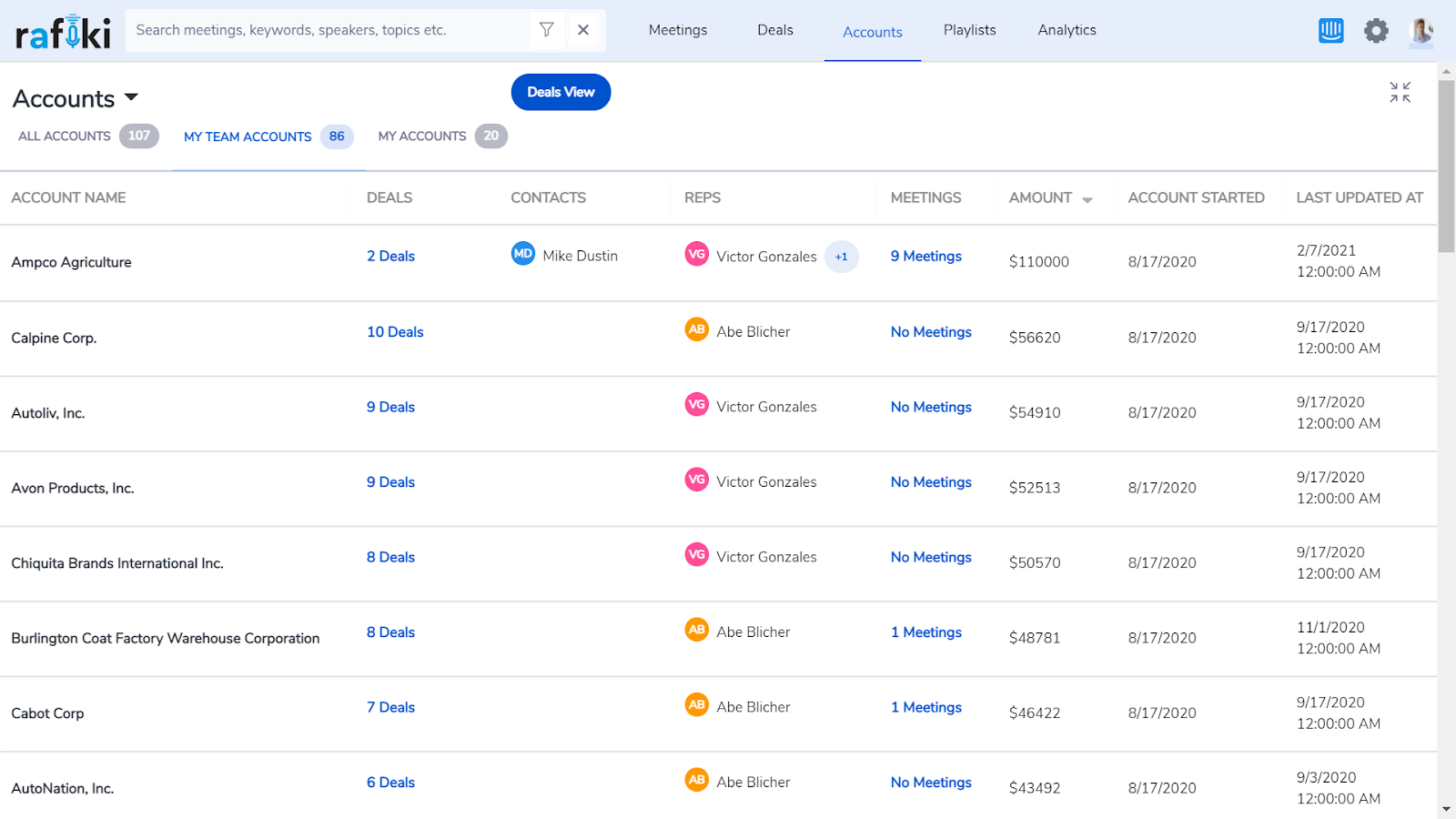 Accounts screen on Rafiki pulled from your CRM