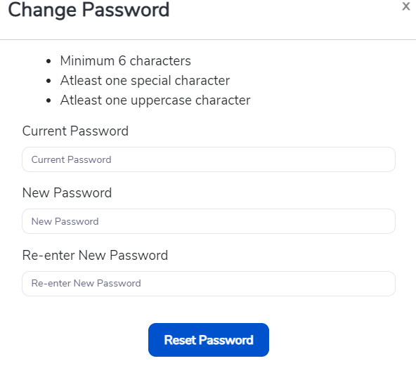 Password conditions that have to be met while changing passwords in Rafiki.